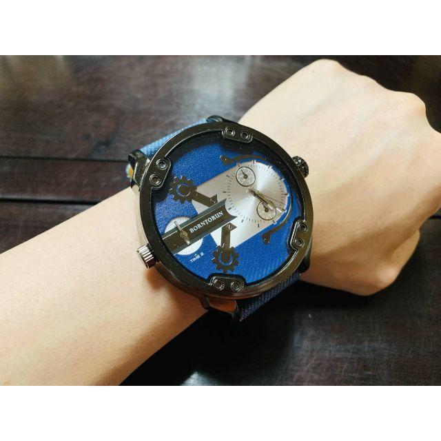 新品 腕時計 超ビッグケース デュアルタイム デニム地 x 本革ベルトの通販 by コメントする時はプロフ必読お願いします|ラクマ