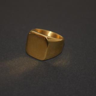 スクエアリング ステンレス 指輪 316L ゴールド ストリート サーフ 21号(リング(指輪))