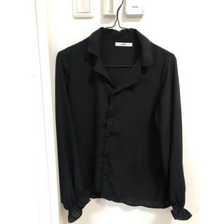 グレイル(GRL)の黒シャツ チッフォン GRL 韓国風(シャツ/ブラウス(長袖/七分))