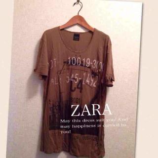 ザラ(ZARA)のザラプリントデザインカットソーTシャツ(カットソー(半袖/袖なし))
