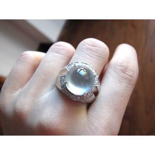 552 k18金 白翡翠 ゴールド リング メンズ   父の日  彼氏 ブレス(リング(指輪))