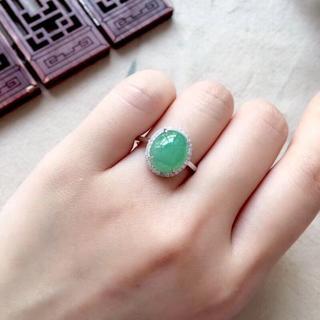 555 k18金 翡翠 ピンクゴールドリング 翡翠リング 豪華指輪 結婚記念日(リング(指輪))