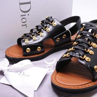 クリスチャンディオール(Christian Dior)のクリスチャンディオール Dior ブラック ゴールド スタッズ レザーサンダル(サンダル)