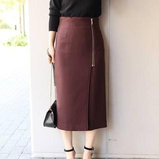 ノーブル(Noble)のNOBLE ノーブル PE/RY/W ジップタイトスカート ブラウン36(ひざ丈スカート)