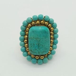 指輪(リング) アジアンアクセサリー 天然石 ターコイズブルー(リング(指輪))