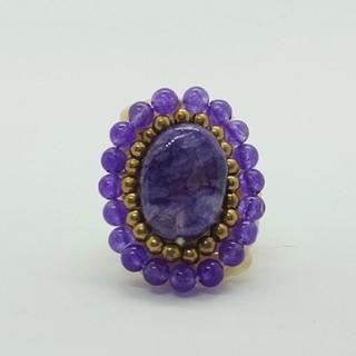 指輪(リング)アジアンアクセサリー 天然石 紫(パープル)(リング(指輪))