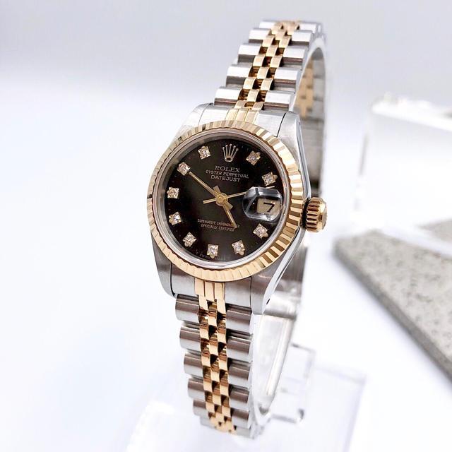 ROLEX - 【OH済/仕上済】ロレックス ダイヤ コンビ 黒文字盤 レディース 腕時計の通販 by LMC|ロレックスならラクマ