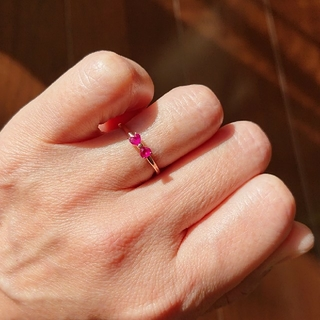 リボン  ルビーリング    10金ピンクゴールド     (リング(指輪))