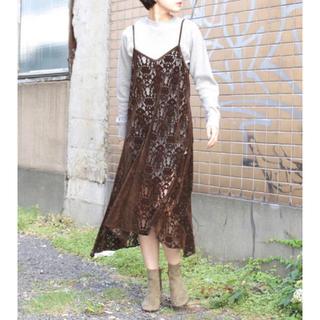 フィーニー(PHEENY)のPHEENY Rayon velvet lace camisole dress (ロングワンピース/マキシワンピース)