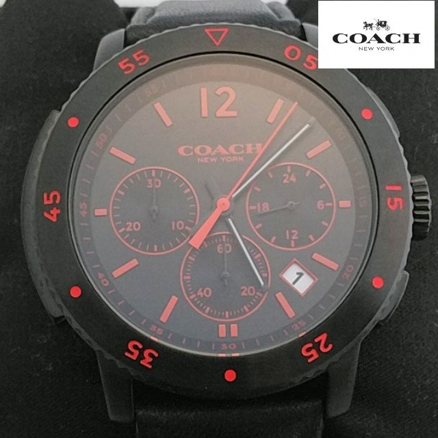 COACH - ☆新品未使用 コーチ【COACH】メンズ 腕時計 クロノグラフ 正規品 黒×赤の通販 by Ken88's shop|コーチならラクマ