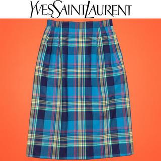 サンローラン(Saint Laurent)のイヴサンローラン スカートYves Saint Laurent タータンチェック(ひざ丈スカート)