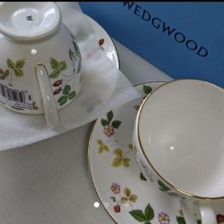 ウェッジウッド(WEDGWOOD)の【新品】ウェッジウッド ワイルドストロベリー カップ&ソーサー 2客セット(食器)