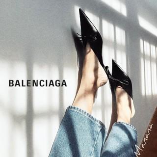 バレンシアガ(Balenciaga)のバレンシアガ ナイフ レザー スリングバック ミュール キトゥンヒール(ハイヒール/パンプス)