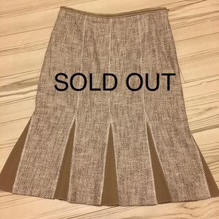 ポールカ(PAULE KA)のPAULE KA ♡ポール カ  ベージュ&ホワイトツイード スカート(ひざ丈スカート)