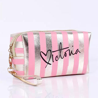 ヴィクトリアズシークレット(Victoria's Secret)のインポート 防水PVC 化粧ポーチバッグ ストライプ ボックス ピンク×ゴールド(ポーチ)