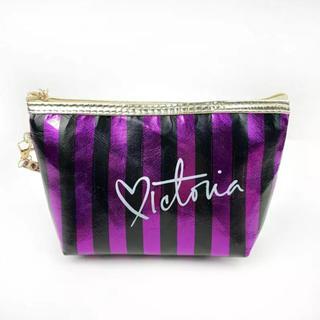 ヴィクトリアズシークレット(Victoria's Secret)のインポート 防水PVC 化粧ポーチバッグ ストライプ ブラック×パープル(ポーチ)