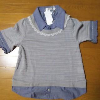 アクシーズファム(axes femme)の【新品】デニムシャツレイヤード風(Tシャツ(半袖/袖なし))