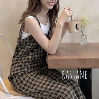 カスタネ(Kastane)の新品❀カスタネチェック裾リボンオールインワン(オールインワン)