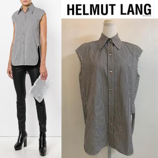 ヘルムートラング(HELMUT LANG)のHELMUT LANG ヘルムートラング ストライプノースリーブシャツ 黒白 S(シャツ/ブラウス(半袖/袖なし))
