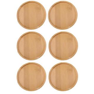 7CM 竹製 トレイ 鉢 プランター 植物皿 ベージュ 多肉植物植木鉢 6個入り(その他)