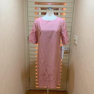 ハナエモリ(HANAE MORI)の新品 ハナエモリALMA EN ROSE可愛いピンク色ワンピース 税込約5万9千(ひざ丈ワンピース)