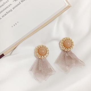 カスタネ(Kastane)のbrown cabochon×lace tassel pierce*.(ピアス)