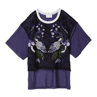 マメ(mame)のmame紫陽花刺繍Tシャツ(Tシャツ(半袖/袖なし))
