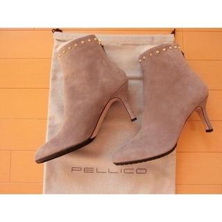 ペリーコ(PELLICO)の新品ペリーコPELLCOスタッズ付グレージュ ブーツ37.5スエード(ブーツ)