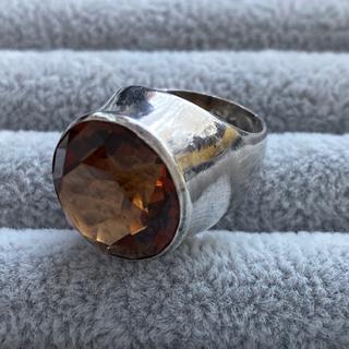 レトロ 925 シルバー リング オレンジ色石(リング(指輪))