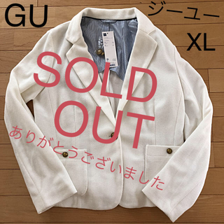 ジーユー(GU)の[新品]GU ジーユー パールニットテーラードジャケット XL[未使用](テーラードジャケット)