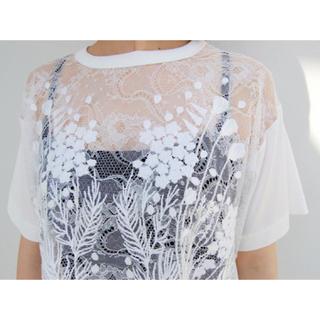 マメ(mame)のmame レースTシャツ(Tシャツ(半袖/袖なし))