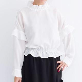メルロー(merlot)のSALE【merlot plus】フリルネックシフォンブラウス(Tシャツ(長袖/七分))