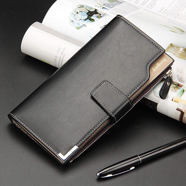 長財布 レザー 二つ折り財布  札入れ 小銭入れ カード 名刺入れ ブラックの通販 by タイムセール中|ラクマ