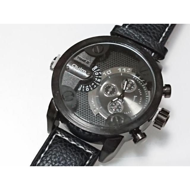 新品 腕時計 2タイムゾーン 動作中 oulm 個性的 日本製ムーブメントの通販 by コメントする時はプロフ必読お願いします|ラクマ