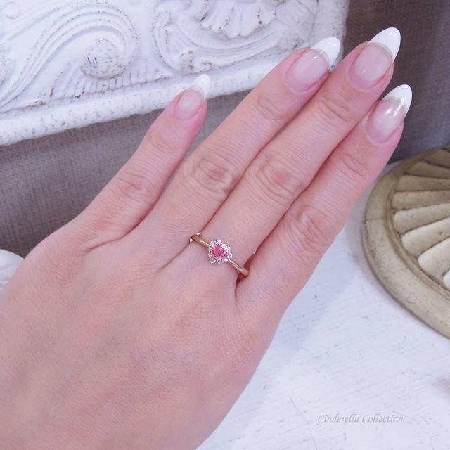 モモン様専用❤️K18PG非加熱パパラチアサファイア★ハートのミニパパラリング レディースのアクセサリー(リング(指輪))の商品写真