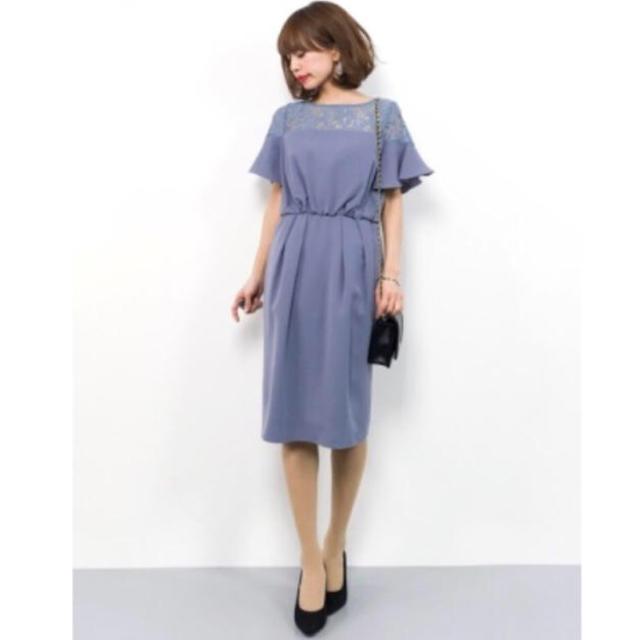 TIENS ecoute(ティアンエクート)のティアンエクート ドレス 半袖 ブルーグレー レディースのフォーマル/ドレス(ミディアムドレス)の商品写真
