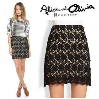 アリスアンドオリビア(Alice+Olivia)のalice+olivia レーススカート ブラック(ミニスカート)