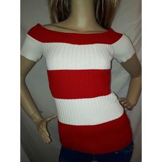 アナップラティーナ(ANAP Latina)のANAP USA リブ ニット オフショル Tシャツ 赤 大きいサイズ  (Tシャツ(半袖/袖なし))
