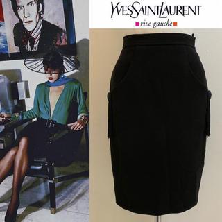 サンローラン(Saint Laurent)のYVES SAINT LAURENT 90s FRANCE製 フリンジ付スカート(ひざ丈スカート)