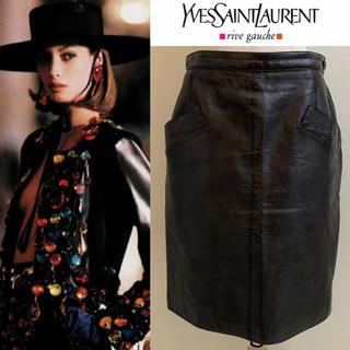 サンローラン(Saint Laurent)のYVES SAINT LAURENT 90s フランス製 レザースカート 40(ひざ丈スカート)