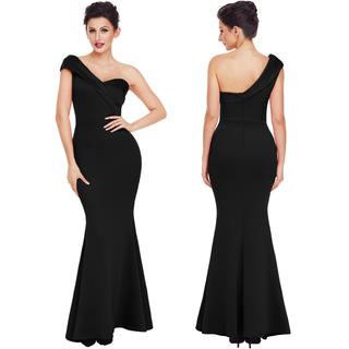 残2◆上質厚手◆新品◆インポート◆黒ワンショルロングドレス◆(ロングドレス)