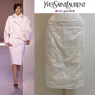 サンローラン(Saint Laurent)のYVES SAINT LAURENT 2000SS エルバス期 ホワイトスカート(ひざ丈スカート)