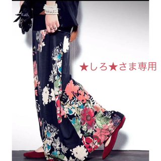 アンティカ(antiqua)の専用☆  2wayアート柄ロングスカート ブラック系(ロングスカート)