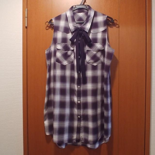 GU(ジーユー)のノースリーブ ロングシャツ ボウタイ付き GU レディースのトップス(シャツ/ブラウス(半袖/袖なし))の商品写真