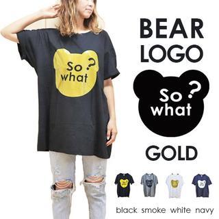 ゴールド ラメ インパクト ベア ロゴ チュニック Tシャツ bigtee009(Tシャツ(半袖/袖なし))