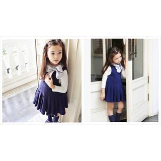 子供服韓国ビッグリボンのフレアワンピース パニエスカートふんわりチュチュ(ワンピース)