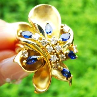 ⭐️海外旅行が大好きyon様専用 ダイヤモンド サファイア リング K18 美品(リング(指輪))