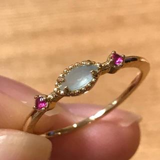 リング 指輪 シーブルーカルセドニー ルビー 18号 エテ アガット 好き♡(リング(指輪))