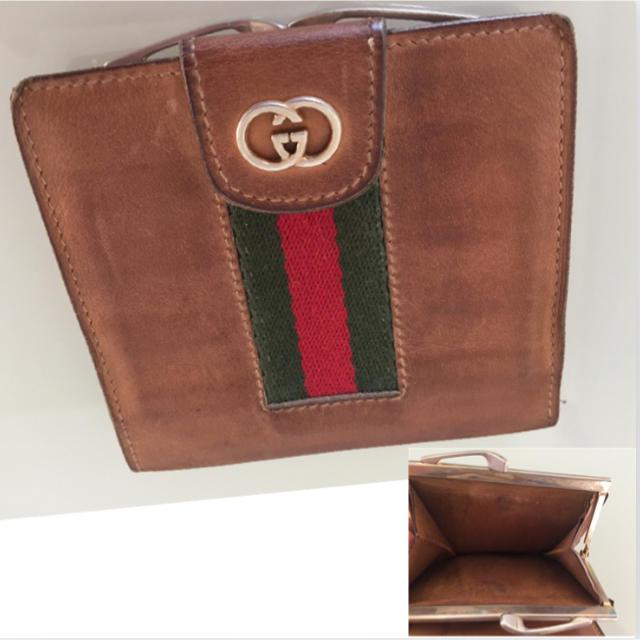 Gucci - 【月初めお値下げ】GUCCI シェリーライン がま口 革 二つ 折り 財布の通販 by ニジ|グッチならラクマ