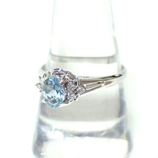 E248 ジュエリーマキ リング 指輪 アクワマリン ダイヤモンド Pt850 (リング(指輪))